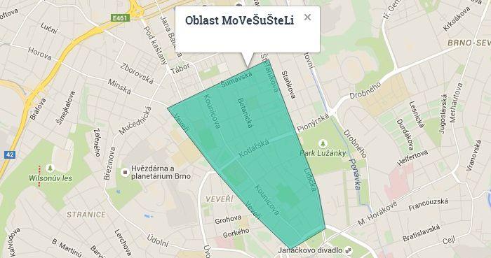 Carsharing Brno, Štefánikova, Lidická, Veveří